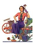 """Geranium Gardener,""May 1, 1937 Giclee Print by W.D. Stevens"