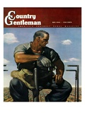 """""""Farmer on Tractor,"""" Country Gentleman Cover, May 1, 1944 Giclee Print by Robert Riggs"""