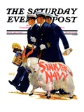"""Sink the Navy,"" Saturday Evening Post Cover, November 30, 1935 Stampa giclée di Albert W. Hampson"