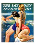 """At the Pool,"" Saturday Evening Post Cover, August 28, 1937 Giclee Print by John LaGatta"