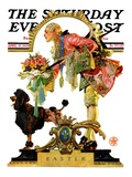 """Fop, Dog, and Flowers,"" Saturday Evening Post Cover, April 19, 1930 Giclée-Druck von Joseph Christian Leyendecker"