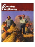 """""""Wheat Harvest,"""" Country Gentleman Cover, July 1, 1943 Giclee Print by Robert Riggs"""