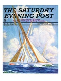 """Sailboat Regatta,"" Saturday Evening Post Cover, September 8, 1934 Giclee Print by Anton Otto Fischer"