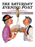 """""""Tipping the Scales,"""" Saturday Evening Post Cover, October 3, 1936 Giclée-Druck von Leslie Thrasher"""