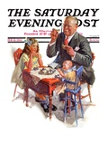 """""""Tea for Grandpa,"""" Saturday Evening Post Cover, February 18, 1933 Giclee Print by C. Gager Phillips"""