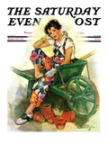 """Woman in Wheelbarrow,"" Saturday Evening Post Cover, June 20, 1931 Giclée-vedos tekijänä Ellen Pyle"