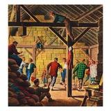 """Square Dance in the Barn,""November 1, 1947 Giclée-vedos tekijänä W.W. Calvert"