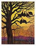 """Wild Turkeys Roosting,""November 1, 1938 Giclee Print by Paul Bransom"