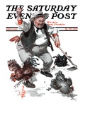 """Shoo Chickens !,"" Saturday Evening Post Cover, June 2, 1923 Giclée-tryk af Joseph Christian Leyendecker"