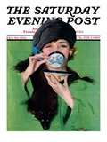 """Elegant Lady Drinking Cup of Tea,"" Saturday Evening Post Cover, February 20, 1926 Giclée-Druck von Penrhyn Stanlaws"