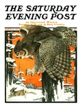 """""""Owl and Rabbit,"""" Saturday Evening Post Cover, March 14, 1925 Giclee Print by Paul Bransom"""