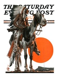 """""""Indian Sunset,"""" Saturday Evening Post Cover, March 17, 1923 Giclee Print by Joseph Christian Leyendecker"""
