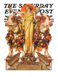 """Ceres and the Harvest,"" Saturday Evening Post Cover, November 23, 1929 Stampa giclée di Joseph Christian Leyendecker"