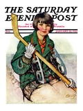 """""""Girl Hockey Player,"""" Saturday Evening Post Cover, January 22, 1927 Giclée-tryk af Ellen Pyle"""