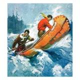 """Canoeing Through Rapids,""March 1, 1930 Giclée-vedos tekijänä Frank Schoonover"