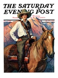 """""""Woman on Horse in Mountains,"""" Saturday Evening Post Cover, October 6, 1928 Giclee Print by William Henry Dethlef Koerner"""