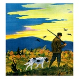 """""""Duck Hunter and Dog,""""October 1, 1929 Giclee Print by Paul Bransom"""