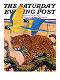 """""""Leopard and Parrots in Jungle,"""" Saturday Evening Post Cover, September 2, 1933 Giclee Print by Paul Bransom"""
