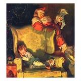 """Sleeping Through Santa's Visit,""December 1, 1928 Giclée-vedos tekijänä Haddon Sundblom"