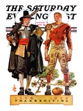 """Thanksgiving, 1628/1928,"" Saturday Evening Post Cover, November 24, 1928 Giclee Print by Joseph Christian Leyendecker"