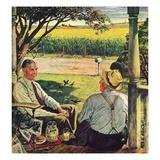 """""""Summer on the Farmhouse Porch,""""August 1, 1947 Giclée-vedos tekijänä W.C. Griffith"""