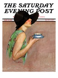 """""""Lady in Wide Brim Hat Holding Tea Cup,"""" Saturday Evening Post Cover, March 24, 1928 Giclée-Druck von Penrhyn Stanlaws"""