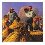 """""""Wheat Harvest,""""July 1, 1943 Giclee Print by Robert Riggs"""