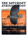 """Marsh Bird,"" Saturday Evening Post Cover, October 3, 1925 Giclee Print by Paul Bransom"