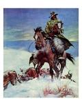 """Herding in Winter Storm,""March 1, 1944 Giclée-vedos tekijänä Matt Clark"