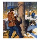 """Gathering Maple Syrup,""March 1, 1927 Reproduction procédé giclée par Newell Convers Wyeth"