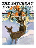 """""""Deer in Snow,"""" Saturday Evening Post Cover, February 7, 1931 Giclee Print by Paul Bransom"""