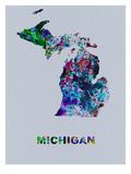 Michigan Color Splatter Map Plakat av  NaxArt