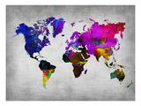 World Watercolor Map 13 Affiches par  NaxArt