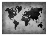 世界地図(黒) ポスター : NaxArt(ナックスアート)