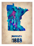 Minnesota Watercolor Map Premium Giclee-trykk av  NaxArt
