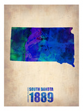 South Dakota Watercolor Map Premium Giclee-trykk av  NaxArt