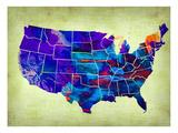 Usa Watercolor Map 5 Posters av  NaxArt