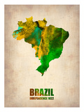 Brazil Watercolor Map Premium Giclee-trykk av  NaxArt