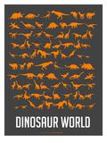 Dinosaur Poster Orange Poster di  NaxArt