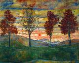 Quatre arbres, vers 1917 Affiches par Egon Schiele