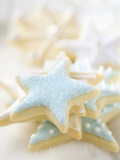 Star Biscuits with Blue and White Icing Valokuvavedos