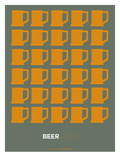 Yellow Beer Mugs Poster Posters af  NaxArt