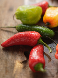 Various Chili Peppers with Drops of Water Photographic Print