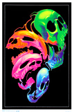 Liquid Skulls Fantasy Blacklight Poster Poster