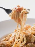 Spaghetti with Meatballs and Tomato Sauce on Fork Reproduction photographique