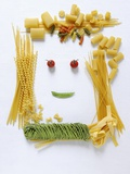 Amusing Face Made from Pasta Photographic Print by Ulrike Koeb