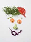 Amusing Face Made from Vegetables and Dill Fotografisk trykk