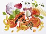 Pasta, Tomatoes, Herbs, Spices, Onions, Garlic Fotografie-Druck von Karl Newedel