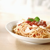 Spaghetti with Tomato Sauce and Parmigiano Fotografisk tryk