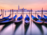 Moored Gondolas with San Giorgio Maggiore in the Background at Dawn, Venice, Veneto Region, Italy Reproduction photographique par Nadia Isakova